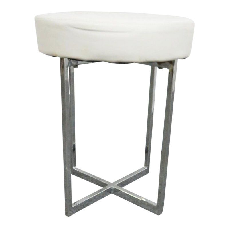 Amazing Mid Century Modern Style White Leather Chrome Stool Cjindustries Chair Design For Home Cjindustriesco