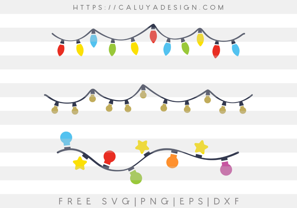 Free Christmas Lights SVG, PNG, EPS & DXF by Caluya Design