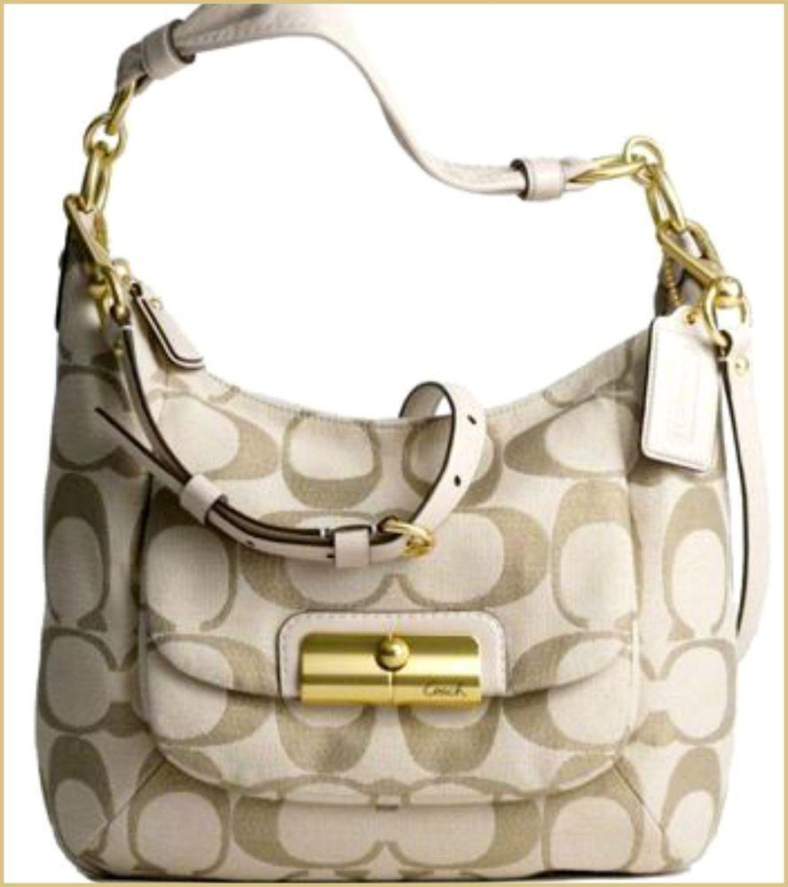 Rare Color Coach  16817 Kristin Signature Hobo Bag Light Khaki   Gold.   Coach  Hobo 1e8bc55277224