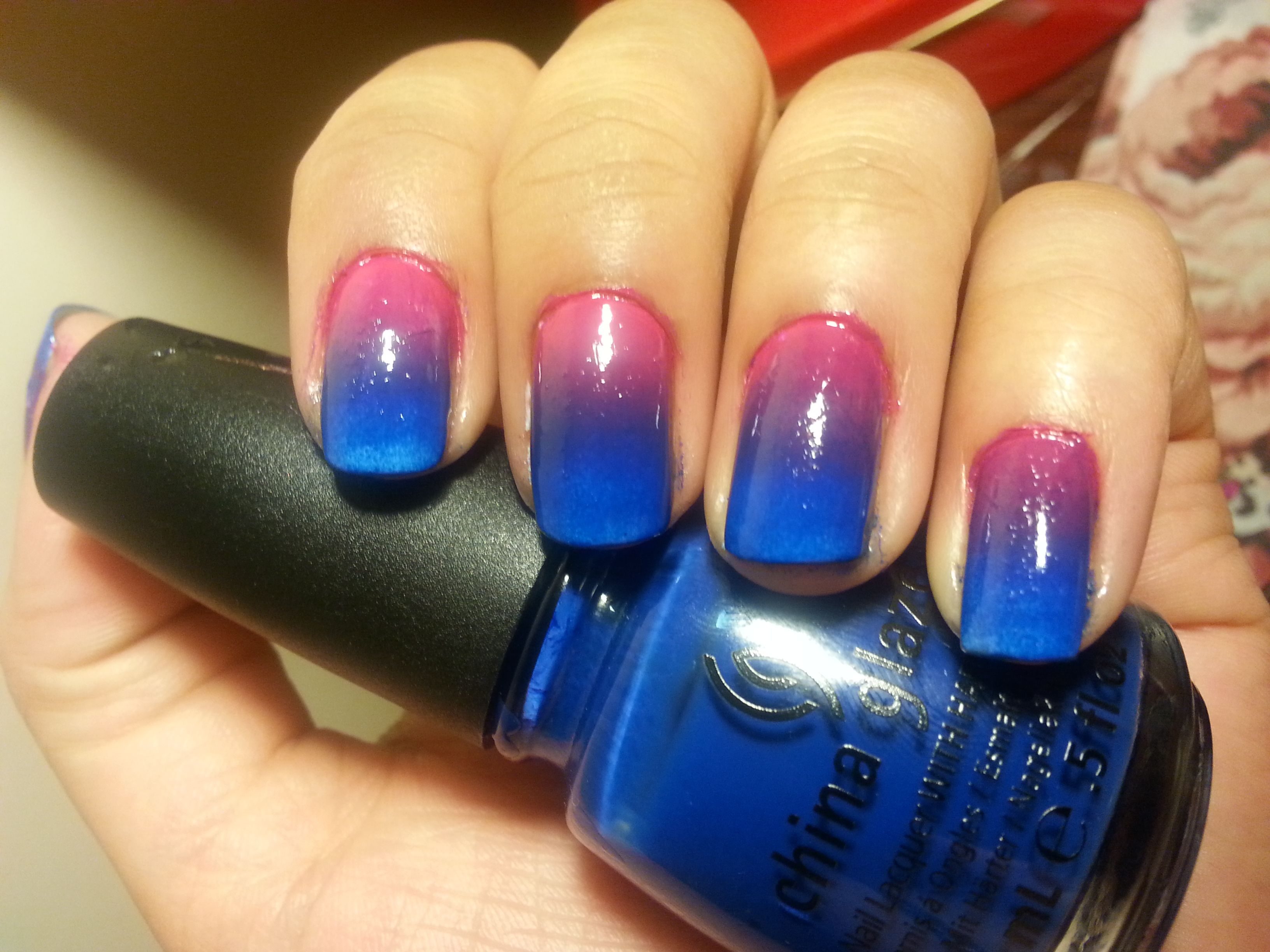 Ombre Nail Art Pink To Blue Gradient