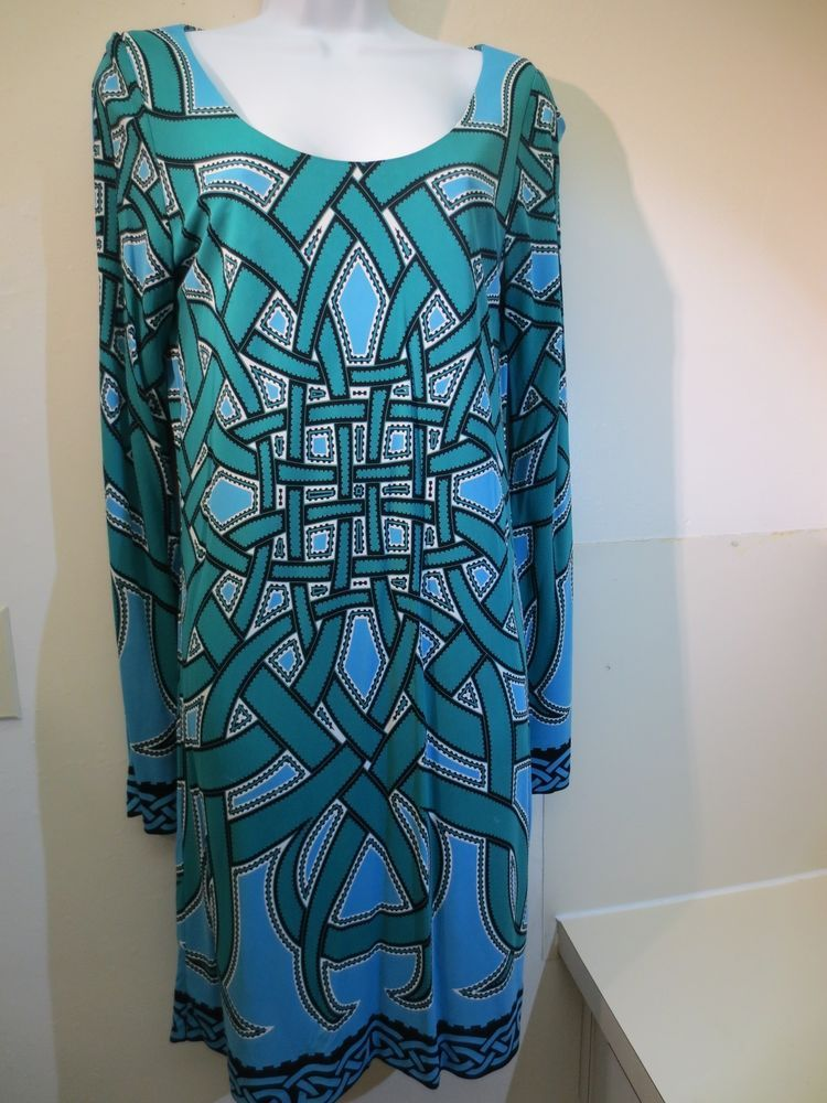 Nicole Miller Long Sleeve Stretchy Sheath Dress Fully Lined Size S Green Blue