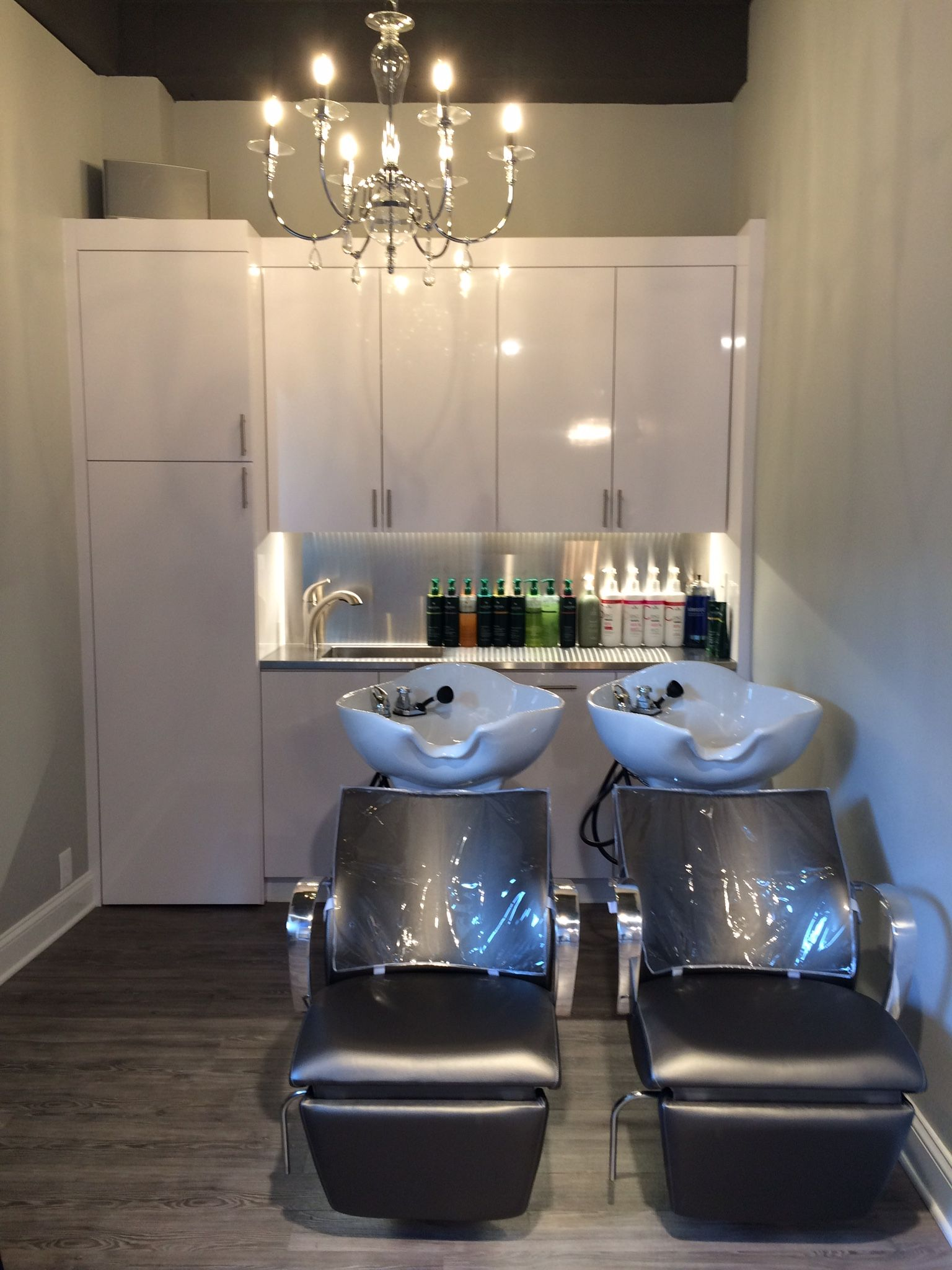 Shampoo bowls with custom cabinets interiors salon for Hair salons designs ideas