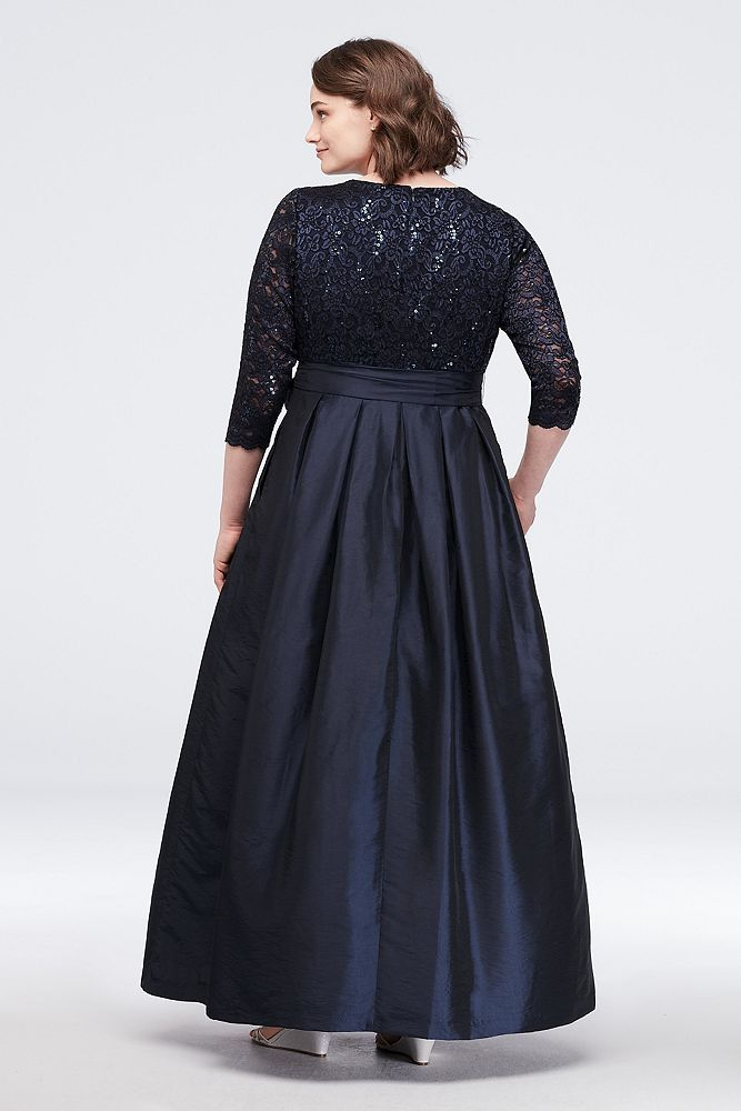 af4a5b5fad6 Lace Surplice Bodice Taffeta Plus Size Ball Gown Style JHDW5750 ...