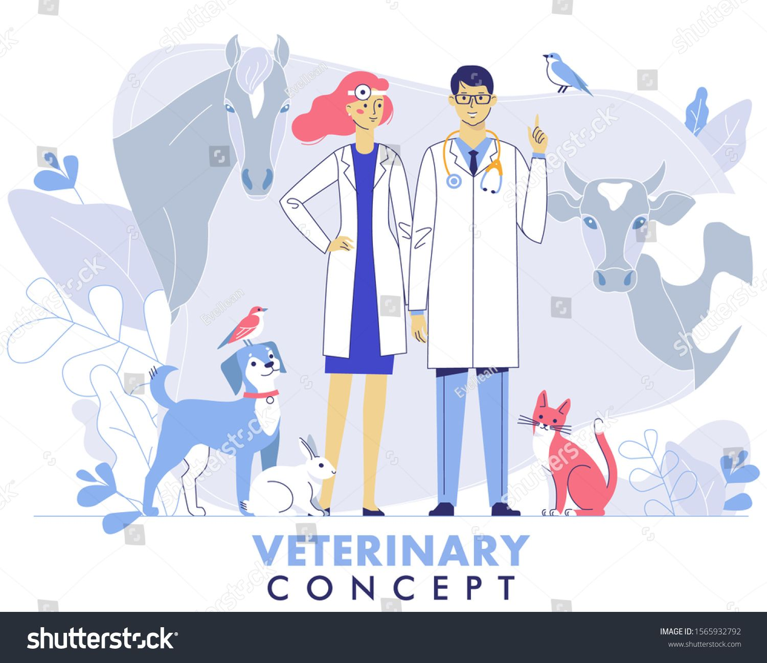 Veterinary Concept With Livestock Animals Pets And Doctors In Vet Clinic Young Veterinarian Man And Woman Standing Tog Ad In 2020 Vet Clinics Dog Coats Veterinary