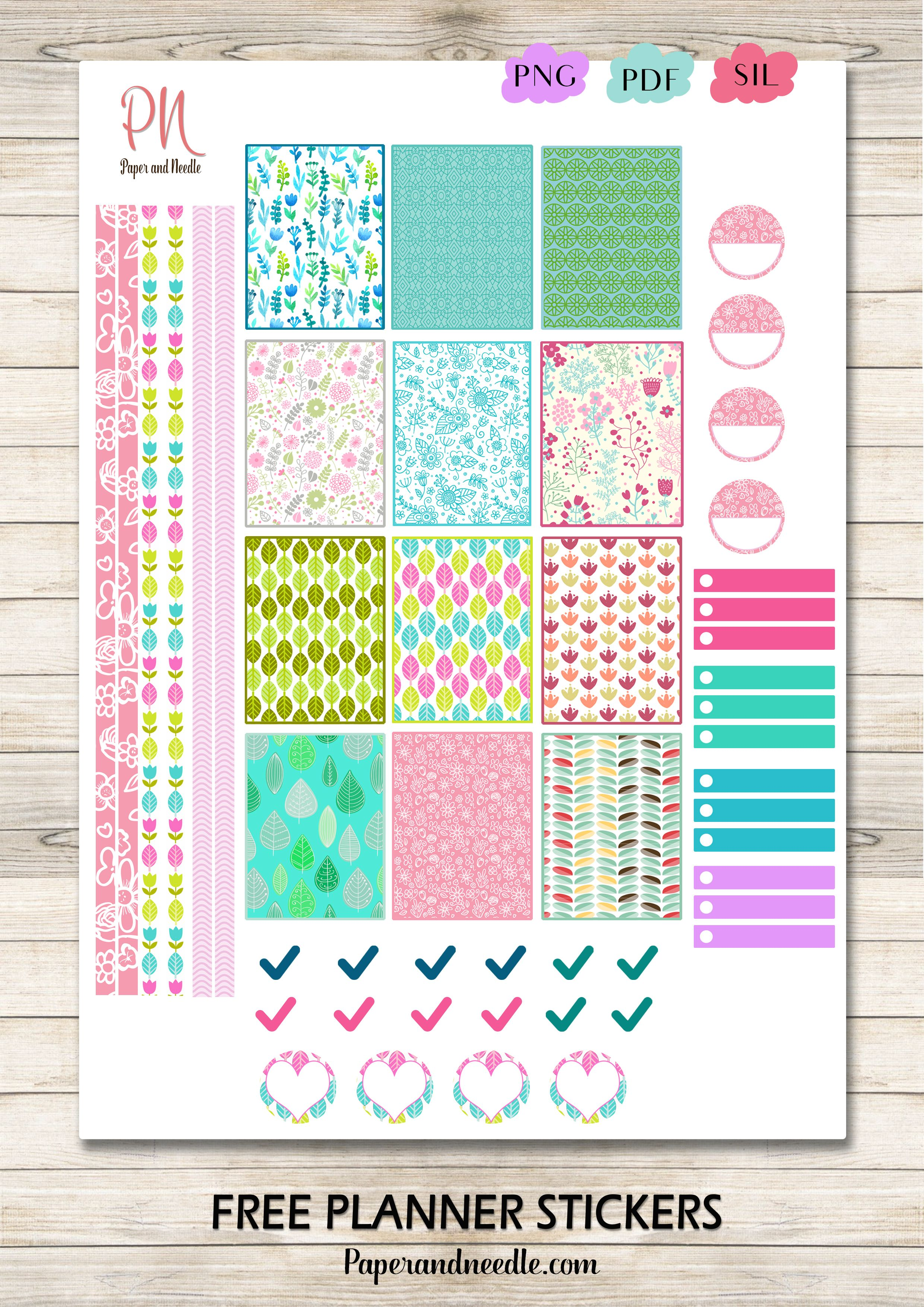 free printable floral planner stickers {pdf, png and silhouette