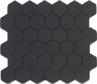 Floor Accent Or To Use With White Hex Hexagon Mosaic Matte Black