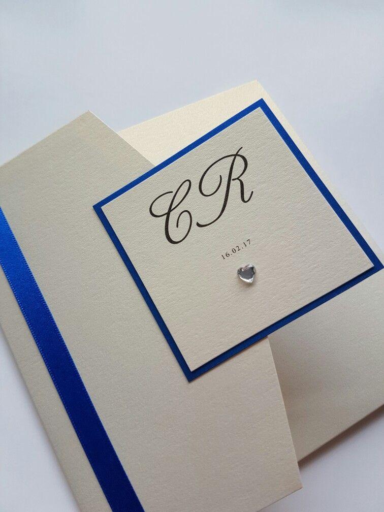 Royal blue and ivory personalised bespoke wedding invitation design ...