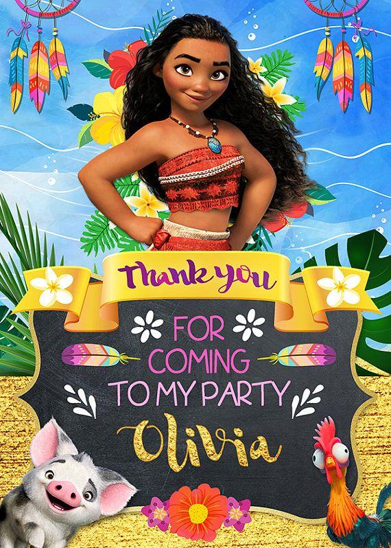 Thank You Card Moana Birthday Party Thank You Note Moana