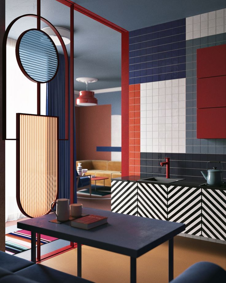 Colourful, colour block kitchen. Bauhaus coloring. Graphic
