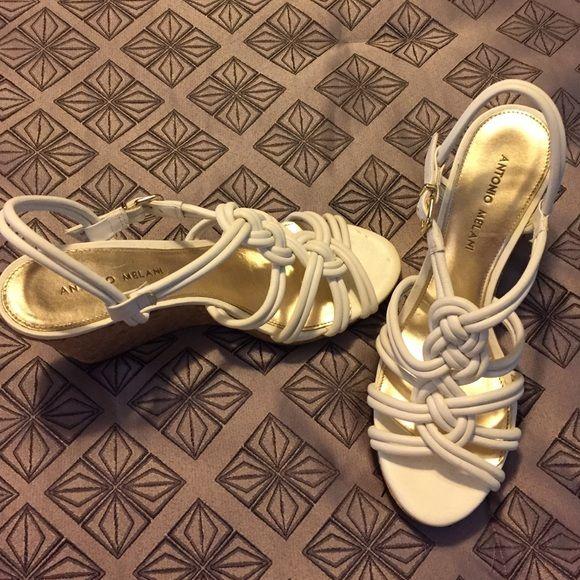 Wedges White wedges. Never worn! Size 8.5 ANTONIO MELANI Shoes Wedges