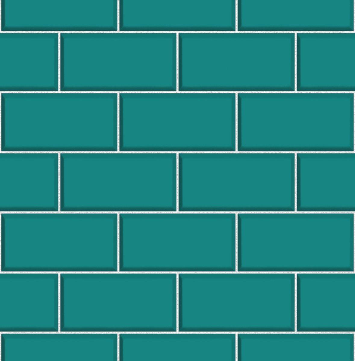 Ceramica Teal Subway Tile Effect Wallpaper by Fine Decor FD40139 ...