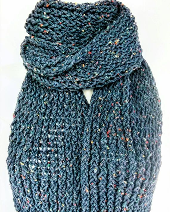 SALE ITEM   Was £32 Now Only £26 Blue Aran Wool Hand Knitted