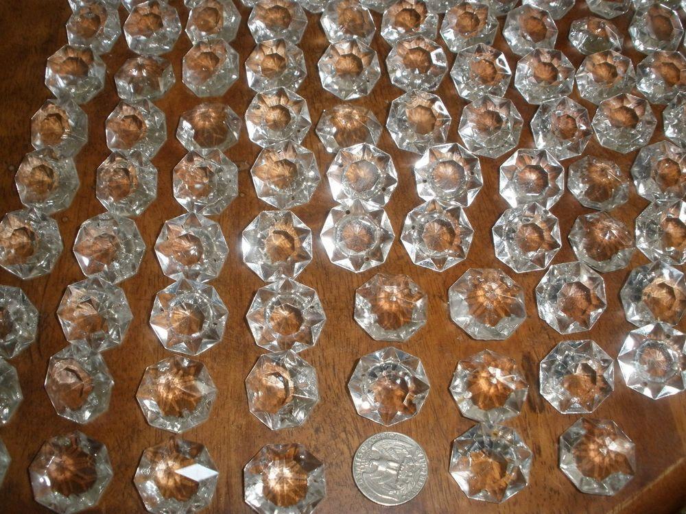 Lot Of 100 Vintage Czech Octagon Crystal Glass For Chandelier Parts Prisms 28mm Ebay Prisms Vintage Chandelier Chandelier