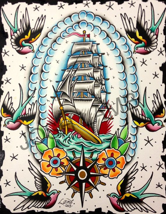Out To Sea Traditional Tattoo Flash Painting Original Vintage
