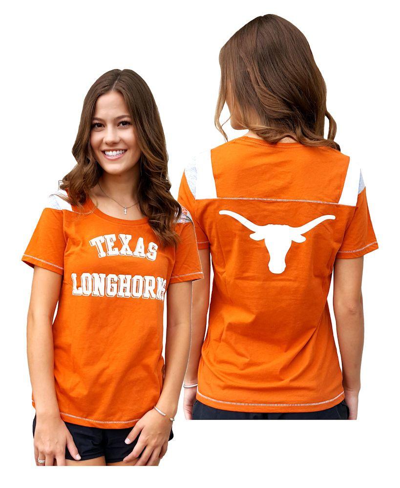 Ladies Texas Longhorns 2 Sided Jersey Style T Shirt By 289c 31 99 Texas Longhorns Outfits Texas Shirts Texas Longhorns