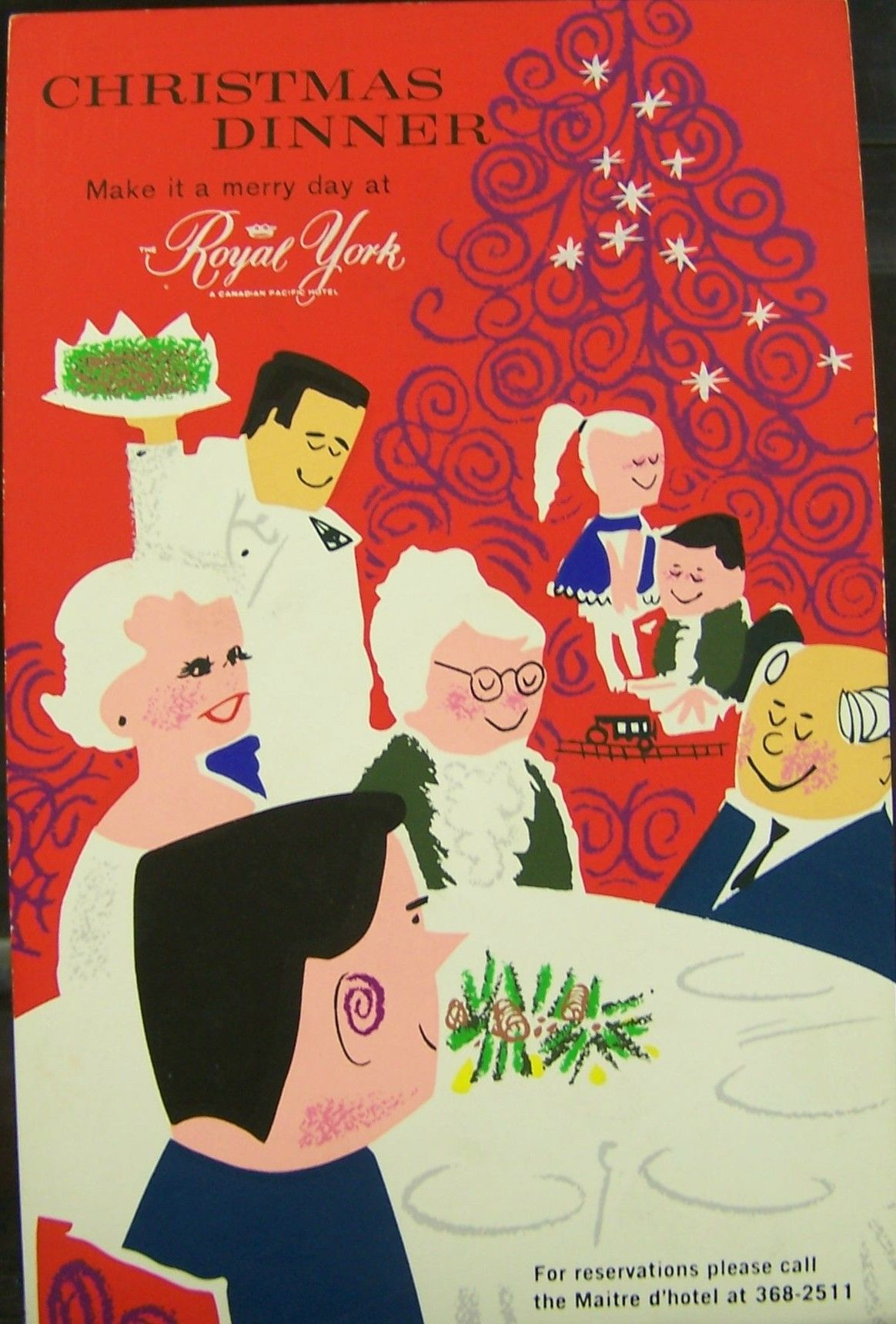 Vintage Christmas Dinner Marketing Poster For The Royal York Hotel