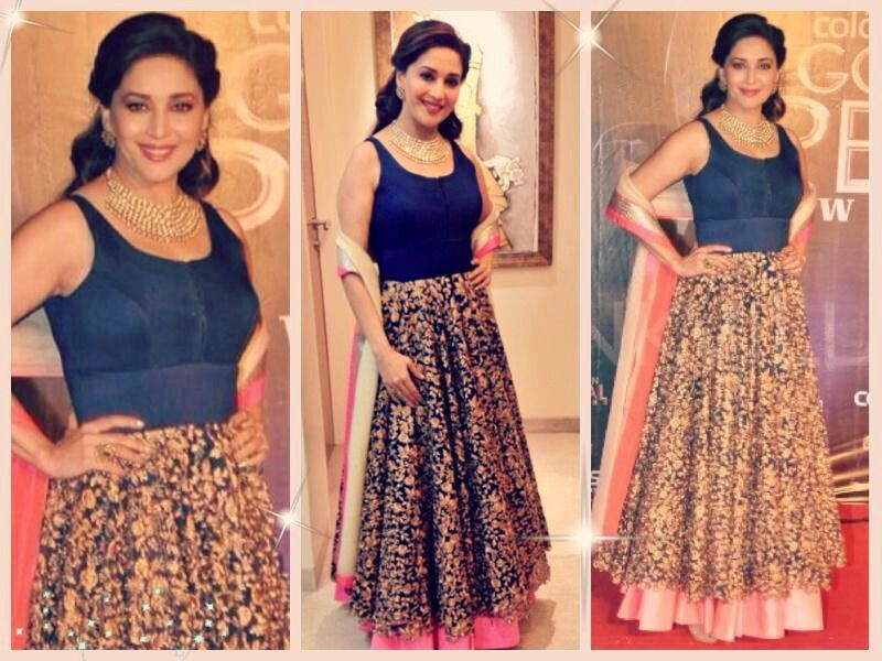 Madhuri Dixit Nene In A Stunning Blue Jade Anarkali Madhuri Madhuridixit Madhuri Dixit Nene Jadebymk Jad With Images Bollywood Fashion Indian Couture Indian Attire