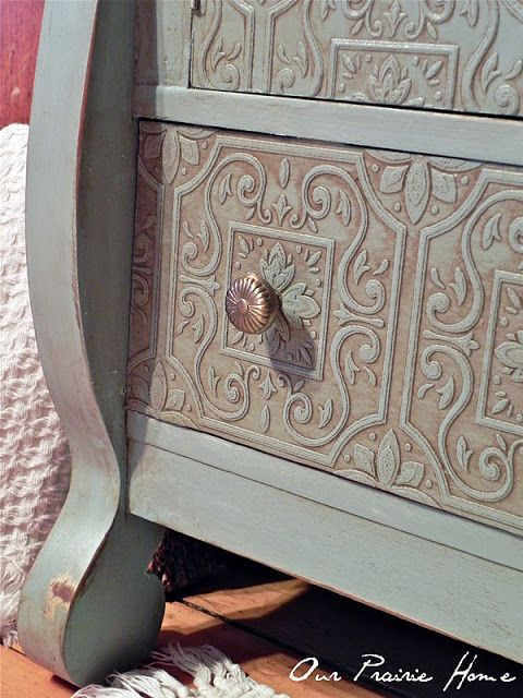 """""""Our Prairie Home"""" used paintable, patterned wallpaper to cover flaws on this dresser. Looks so good!"""