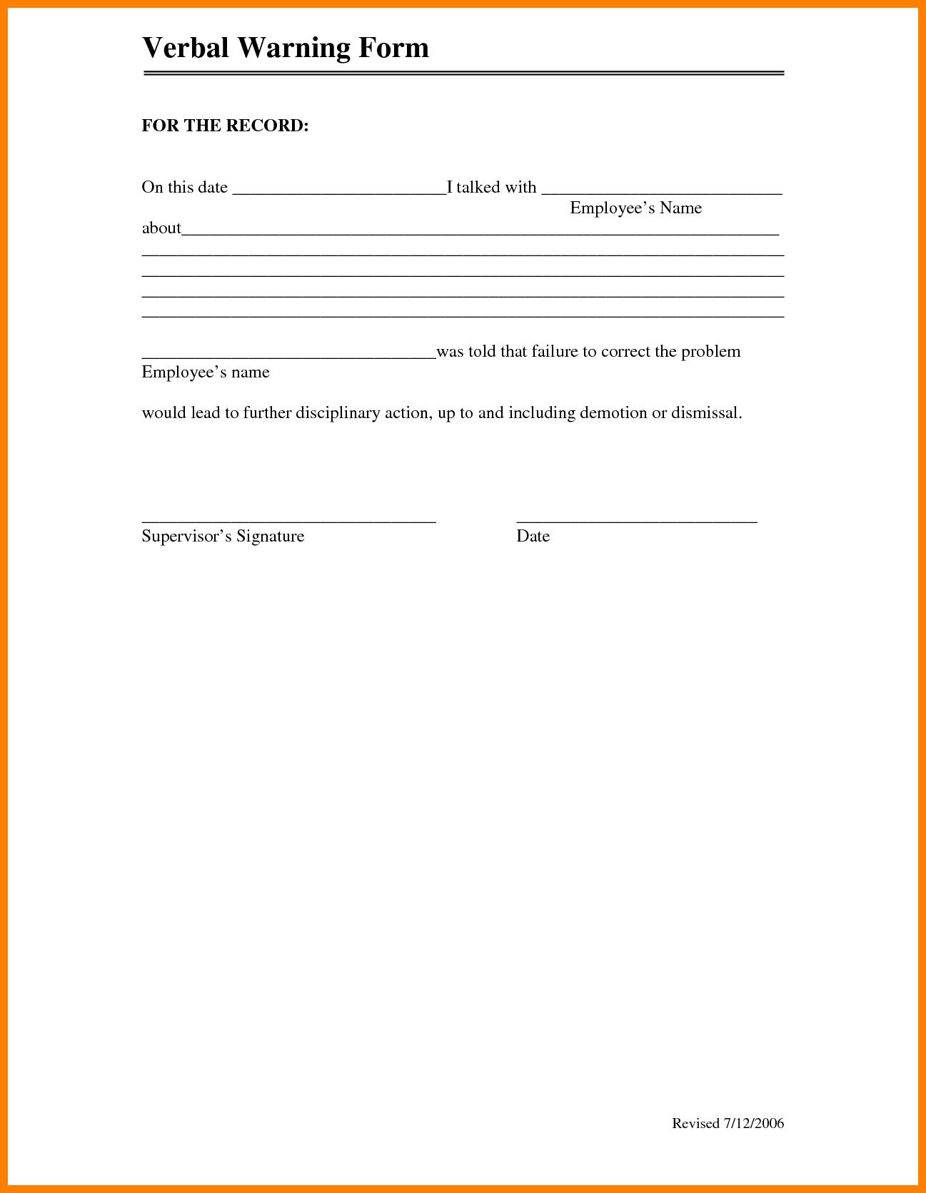 6 Verbal Warning Form