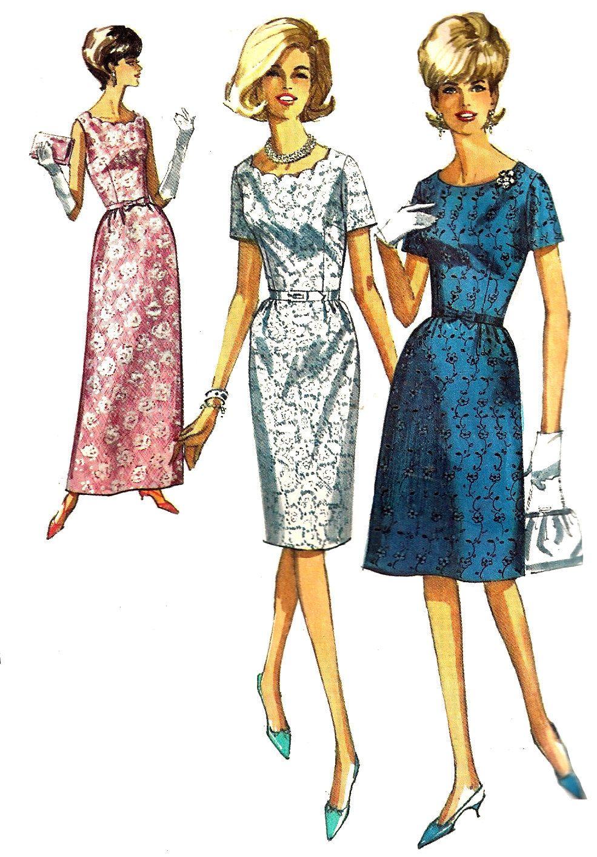 S dress pattern long short scalloped neck half size simplicity