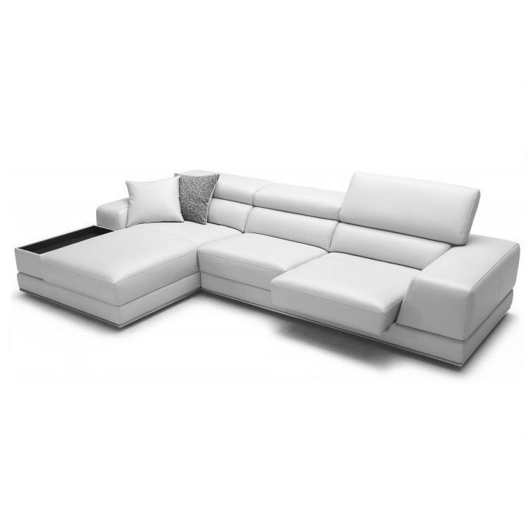 Bergamo Sectional Leather Modern Sofa Gray | sofa sectional ...