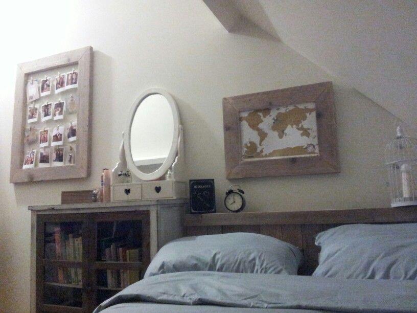 Vinyl Steigerhout Look : Wereldkaart lijst v steigerhout wekker spiegel brocante