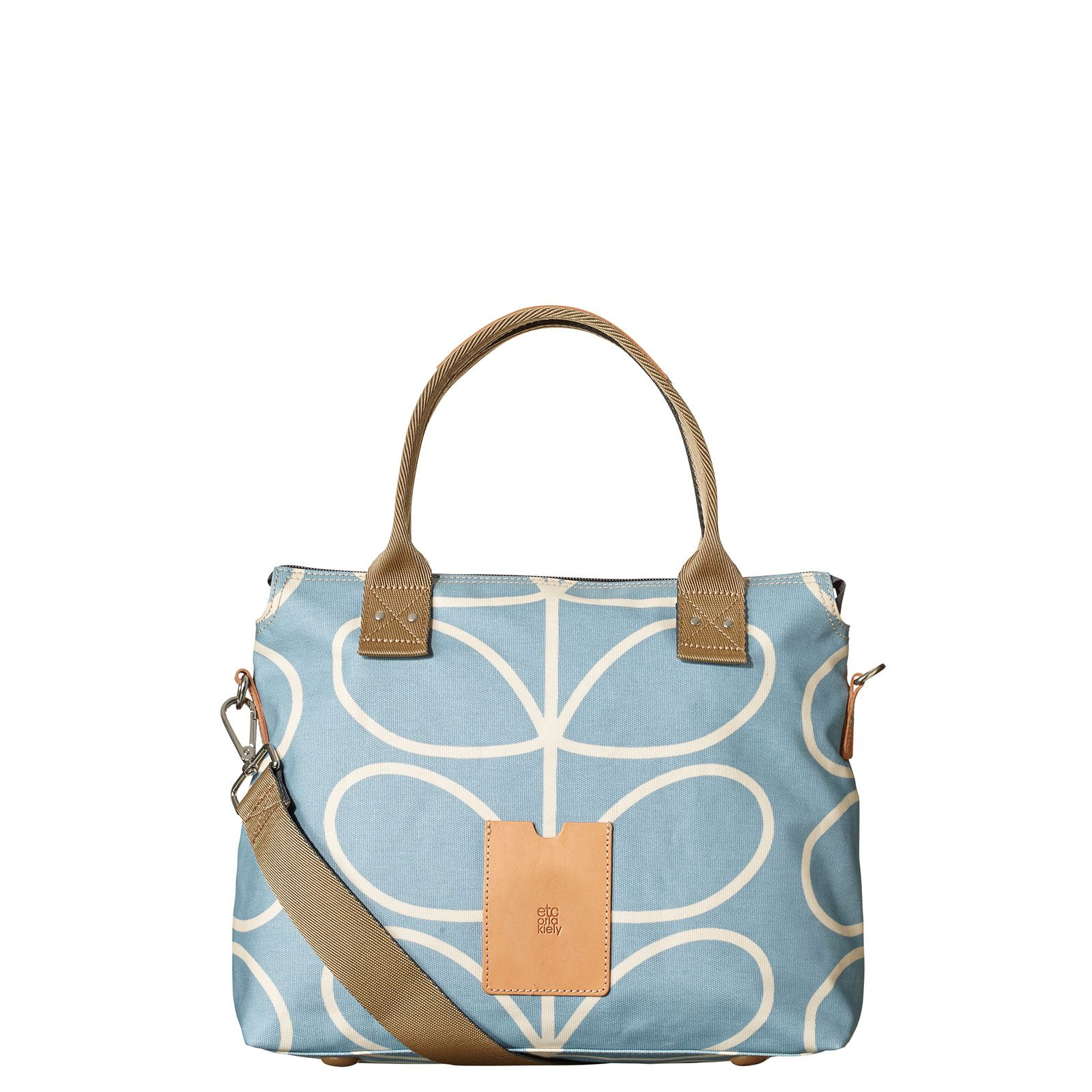2795d5038d934 Orla Kiely: Matte laminated Zip Messenger bag in the classic 'Linear Stem'  print with leather trims and double sided webbing handles and contrast  coloured ...