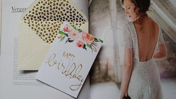 Happy Birthday, Handwritten calligraphy, Greeting Card, Kalligraphie Karte, Gold, Versandkostenfrei, No shipping costs