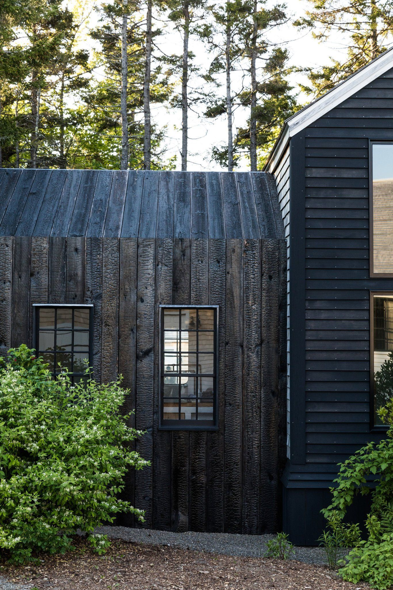 In Maine A Home Built With Japanese Style Soot Based Paint And Charred Cedar Slats Wood Facade House Exterior Building A House