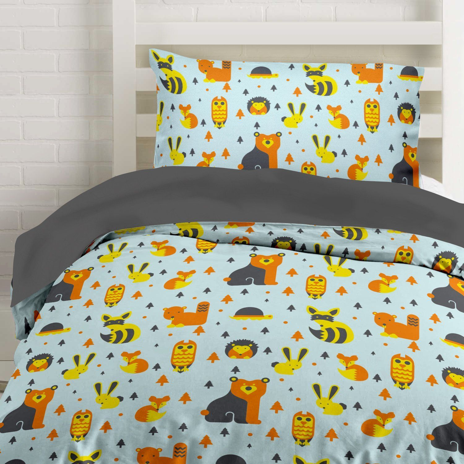 Woodland Creatures Duvet Cover Sheets Bedding Set, Full, Queen, Twin