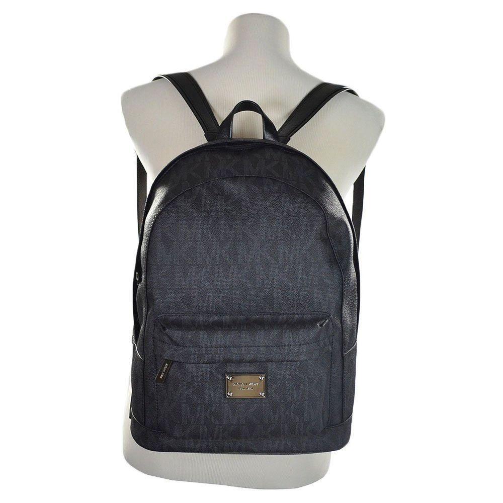 Michael Kors Signature Jet Set Large Backpack Book Bag Pvc Leather Black Michaelkors