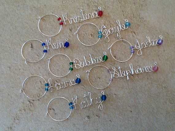 Wine Gl Charm Personalized Wedding Favor Bridesmaid Charms Bridal Party Champagne On Etsy 4 47 Cad