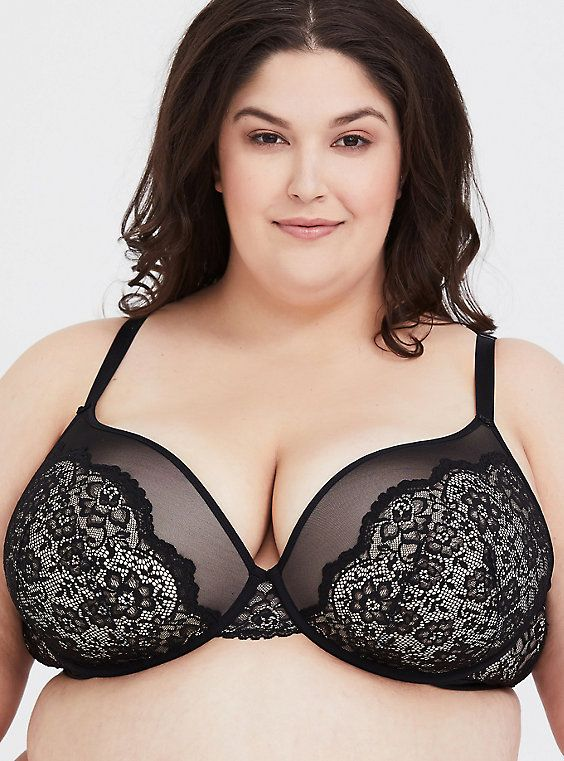 6e3cdb517999c Black Lace   Mesh Push-Up Plunge Bra in 2019