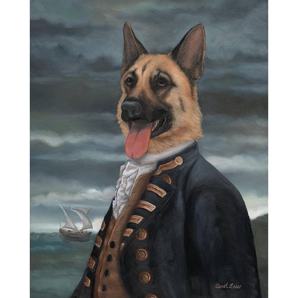 Impresion De Lienzo Pastor Aleman Almirante George Shepherd Etsy Dog Portraits Dog Print Art Pet Portraits