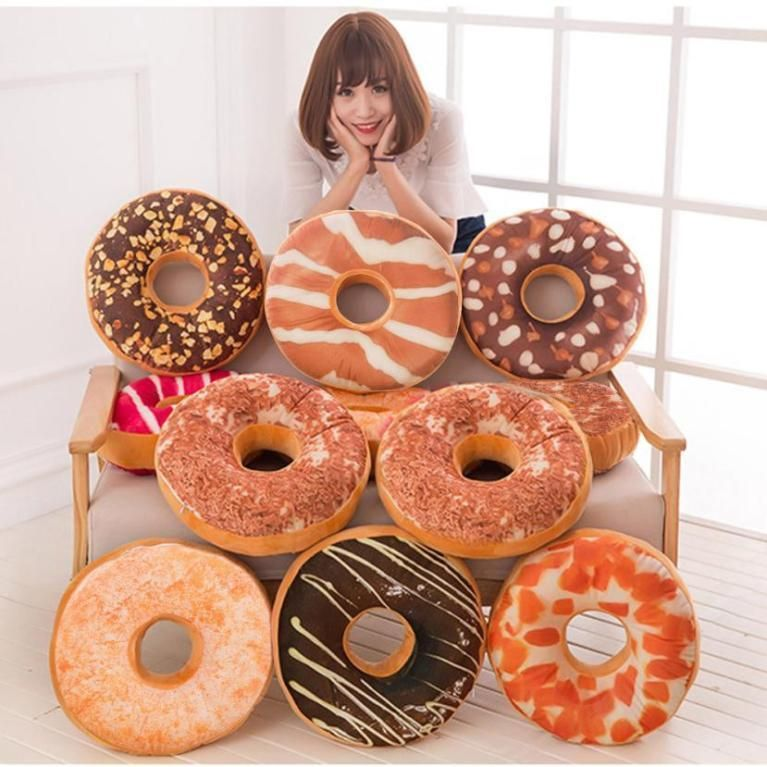 Soft Plush Pillow Stuffed Seat Pad Sweet Donut Foods Cushion Cover Case Toys US  | eBay