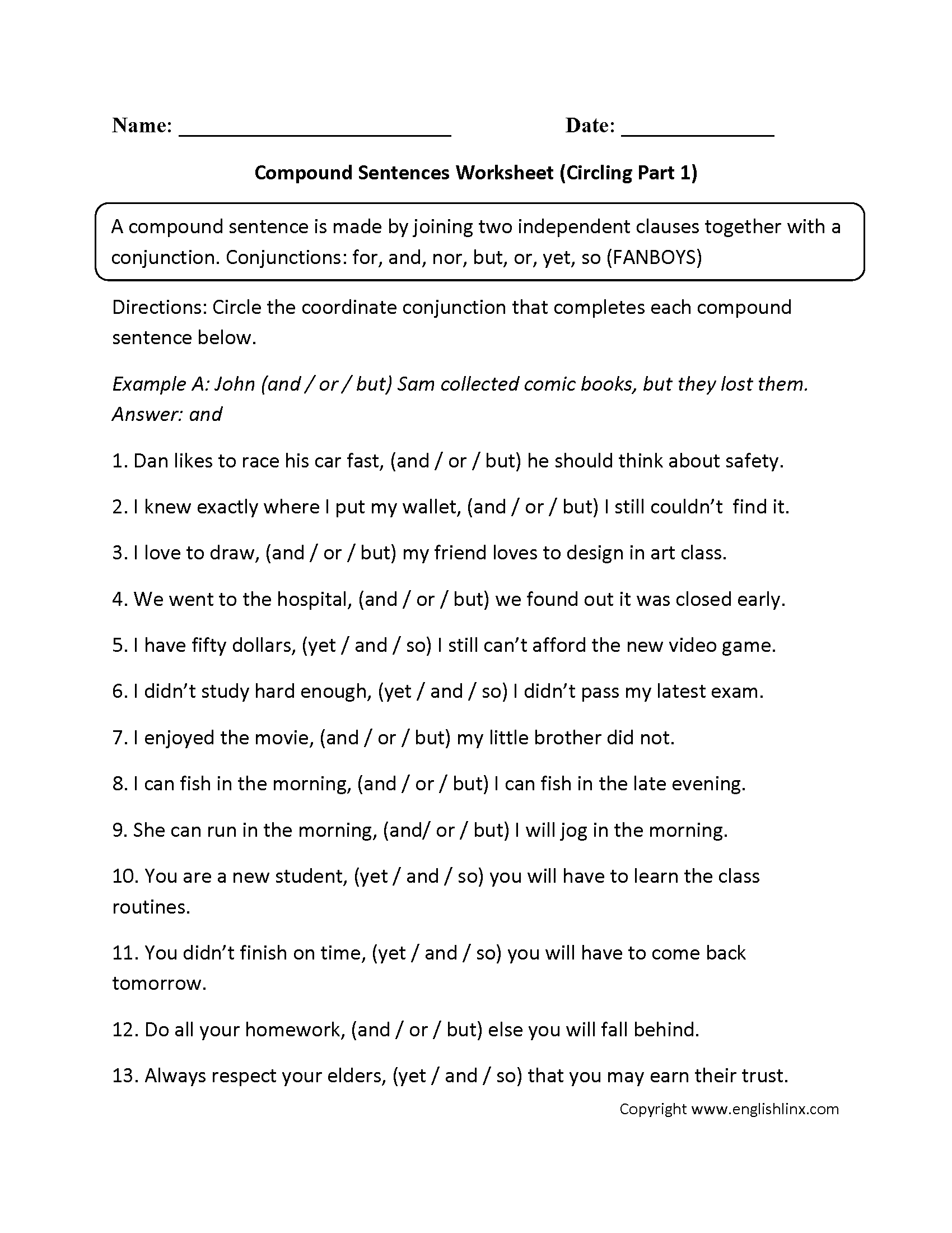 Circling Compound Sentences Worksheet
