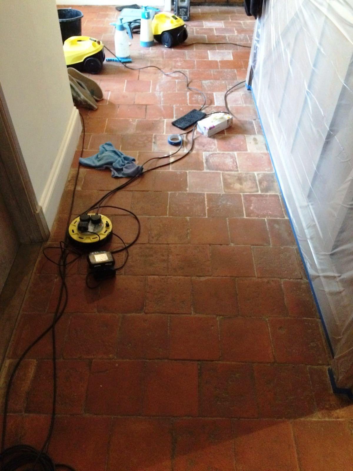 Old Quarry Tiles Before Cleaning Hemel Hempstead Farmhouse