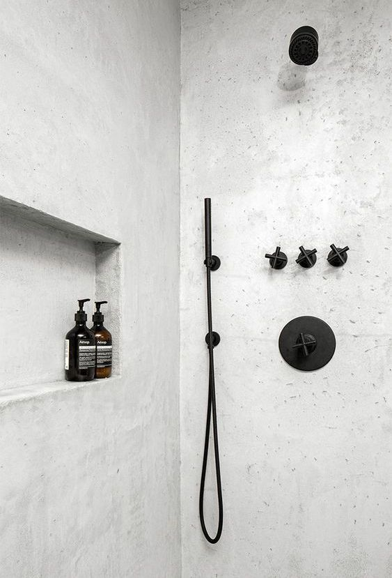 Photo of 22 a neutral shower space with a matte black bathroom fixtures looks bold and co…