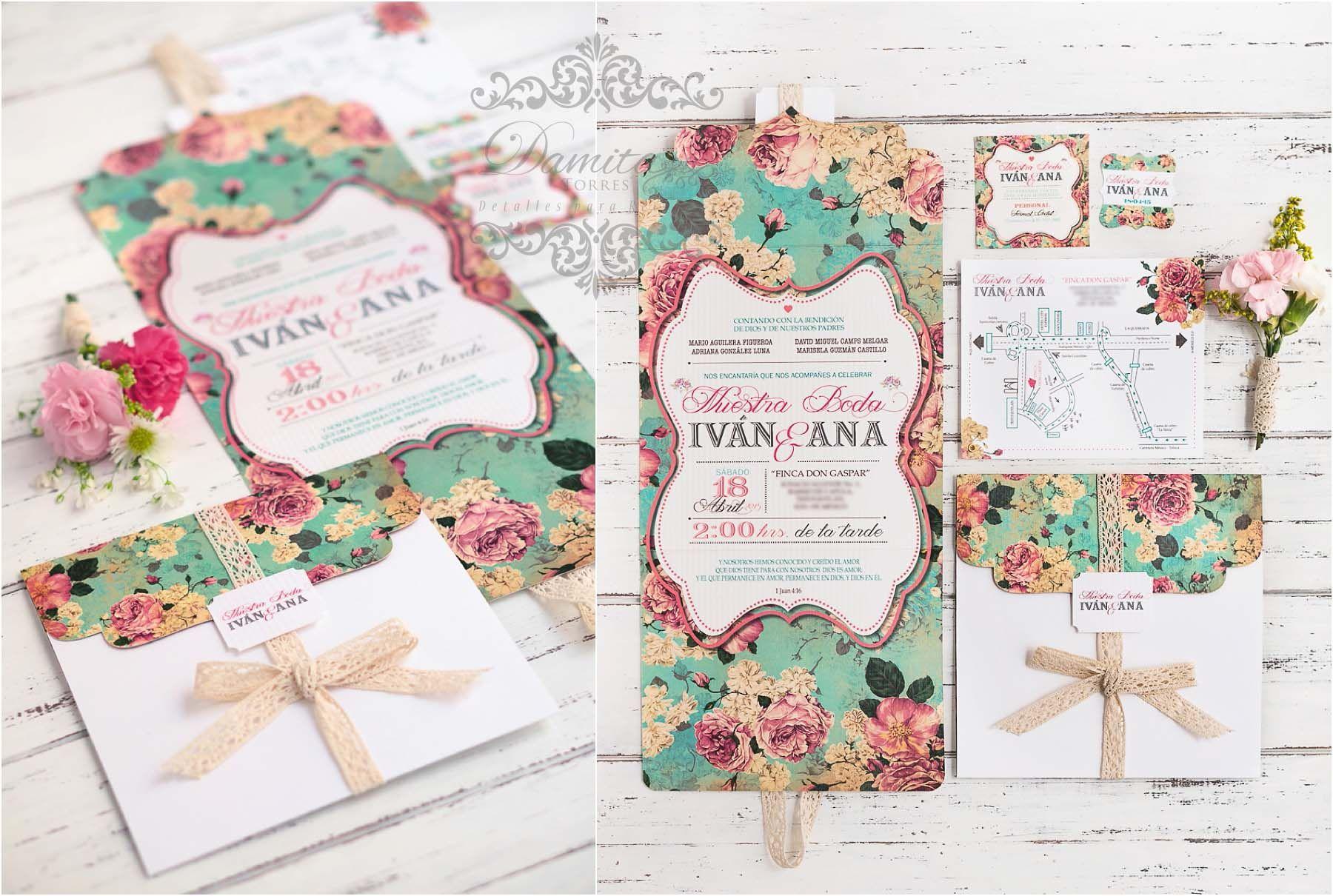 Invitacion boda invitation wedding turquesa aqua shabby chic coral tarjetas 15 - Boda shabby chic ...