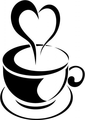Love Heart Steam Tea Cup Wall Sticker Kitchen Wall Art
