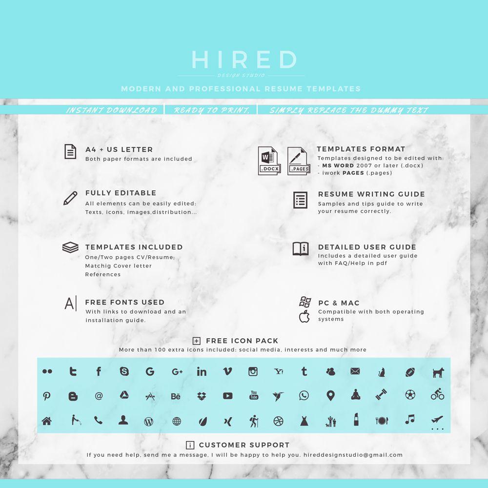Professional Resume, Cv Template | Modern Resume, Cv Design; Resume, Cv +