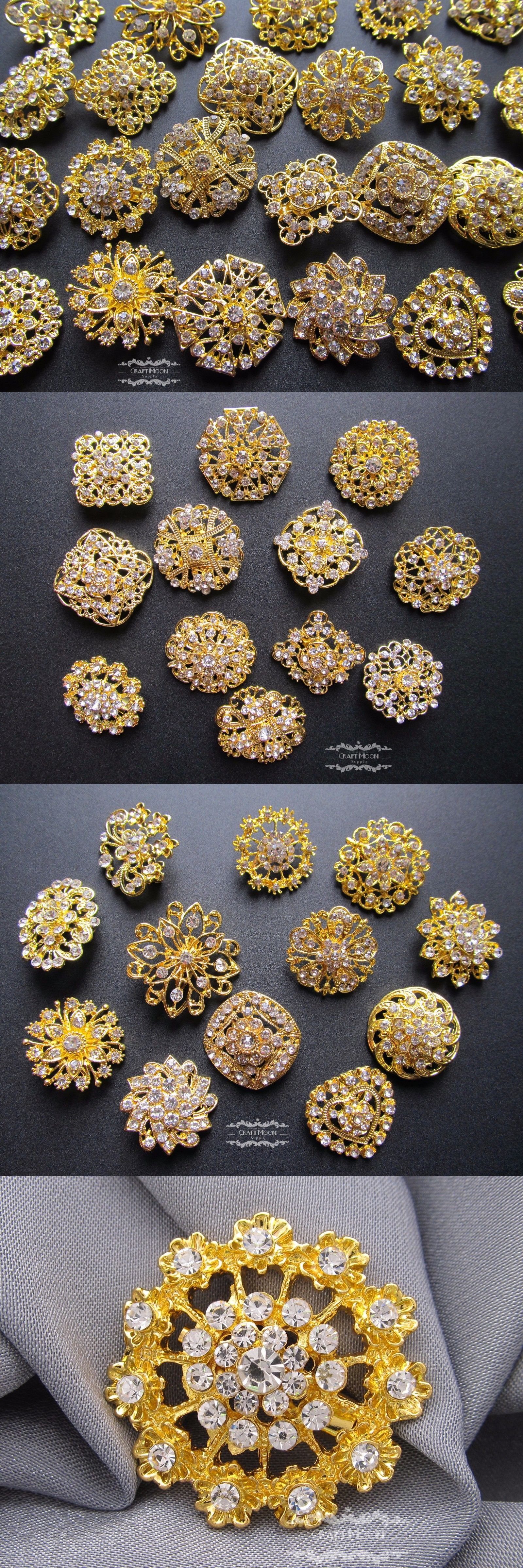 Pins and Brooches 50677: Brooch Lot 100 Gold Mixed Pin Rhinestone Pearl Crystal Wholesale Wedding Bouquet BUY IT NOW ONLY: $59.95