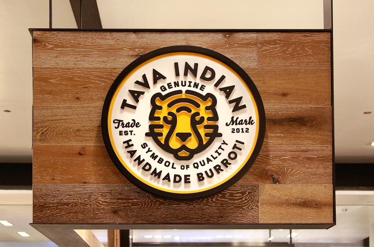 Tava Indian restaurant rebrand Restaurant signage