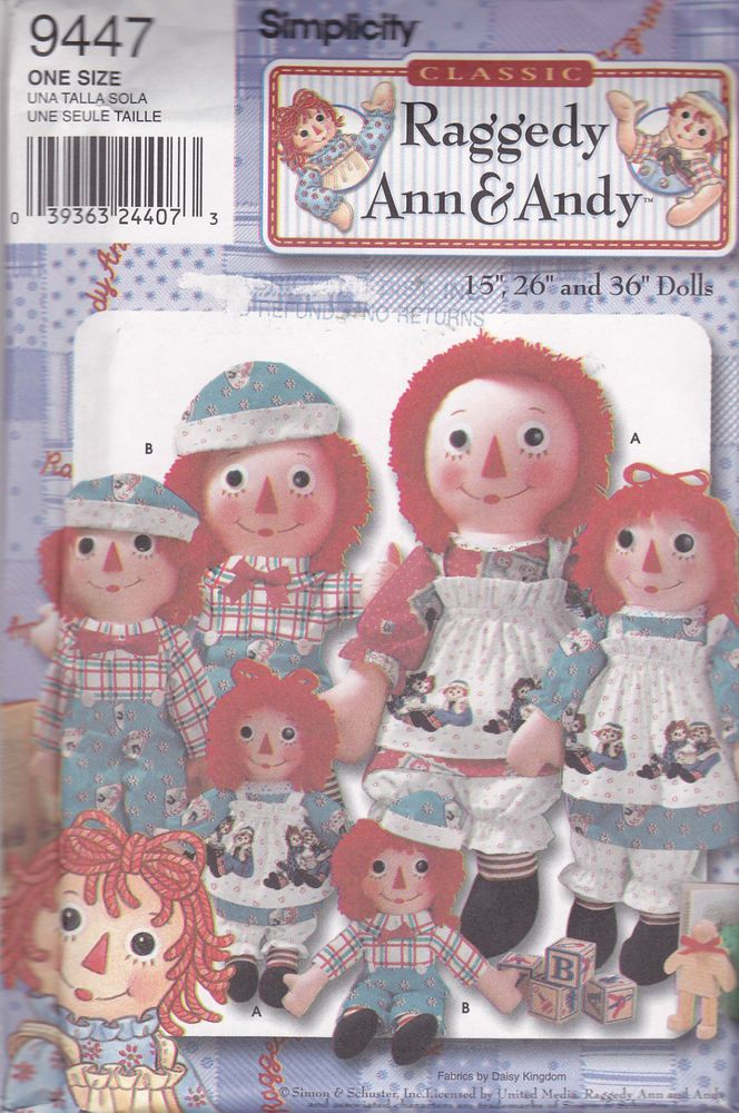 Simplicity Pattern 9447 Raggedy Ann Andy Dolls and Clothes 15\