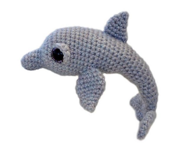 This is Tasha, a fun little dolphin! Tasha measures about 8 inches in a DK yarn, but she can be made from any weight yarn and appropriate hook for different sizes. It is an easy pattern to follow with plenty of diagrams and you will always be welcome to contact me for any extra help.