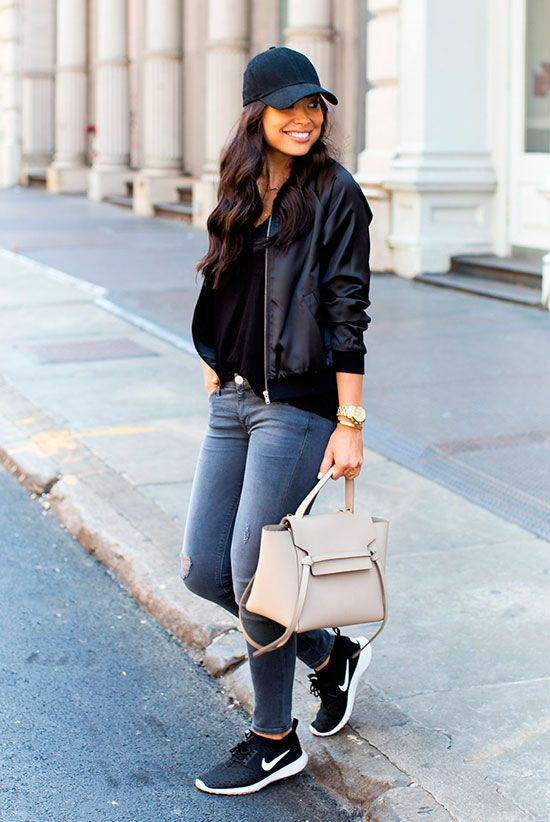 fadea047dc ... Outfits Perfect For Fall: Fashion blogger 'With Love From Kat' wearing  a black baseball cap, a black bomber jacket, a black t-shirt, grey skinny  jeans, ...