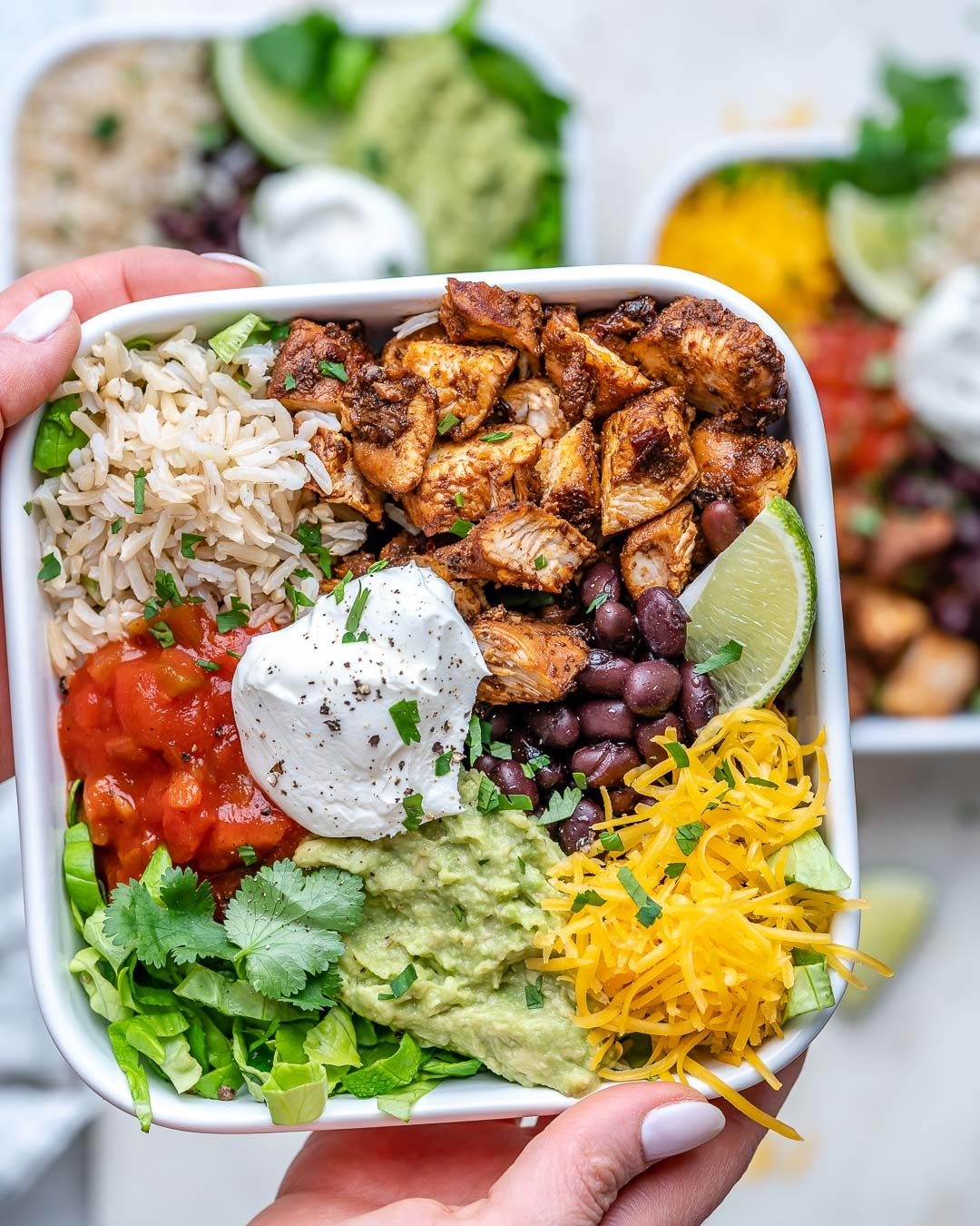 Copycat Chipotle Chicken Burrito Bowls CFC Style | Clean Food Crush
