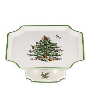 Take a look at this Christmas Tree Footed 65\u0027\u0027 Square Cake Plate by