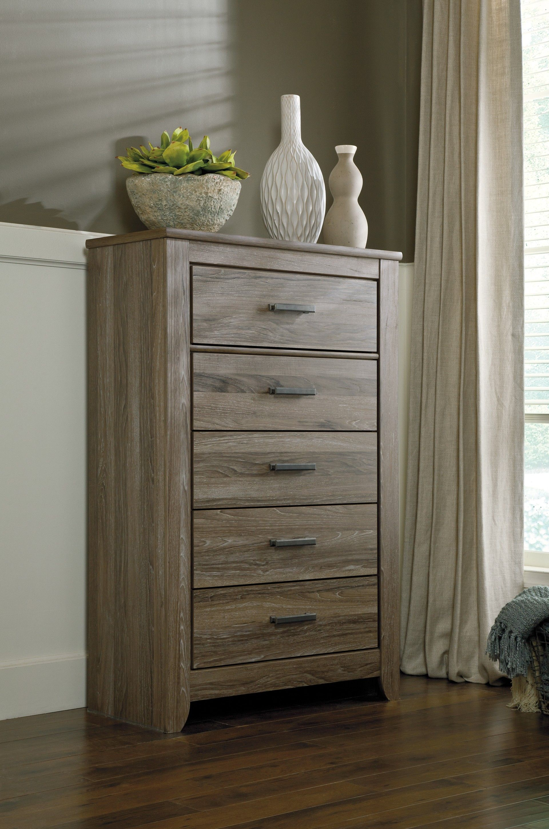 Ashley Zelen B248 46 Signature Design Five Drawer Chest Tall Five Drawer Chest With Warm Gray