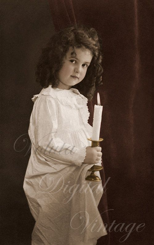 Edwardian Vintage Postcard - Cute little girl holding a candle.